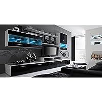 Home innovation - Ensemble de Meubles - Ensemble de séjour avec LEDs contemporain Blanc Mate et Noir Laqué, Dimensions : 250x194x42 cm de profondeur.