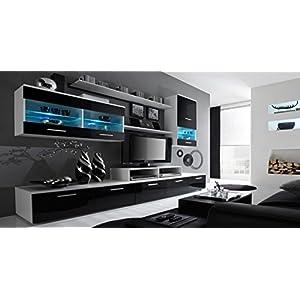 Skraut Home – Glanzlack Wohnwand, Wohnzimmer, Wohnzimmerschrank, Anbauwand, Esszimmer mit LEDs, weiß matt und schwarz…