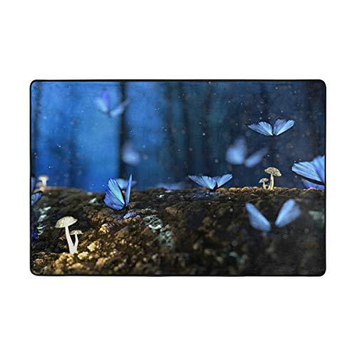 LUPINZ Teppich, Blauer Schmetterling, Pilze, Nachtmuster, rechteckig, Einstieg, Anti-Curling hält Ihren Teppich an Ort und Stelle, Macht Ecken flach, ideal rutschfest, Polyester, 1, 72 x 48 inch -