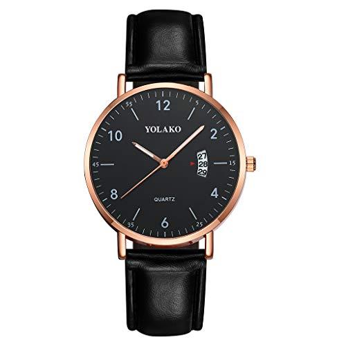 Chenang Damen Uhren Klassisch Beiläufig Dial Lederband Chronograph Analoge Quarzuhr Ultra Dünne Schwarze Minimalistische Quartz mit Datumsanzeige und Milanese Armband -