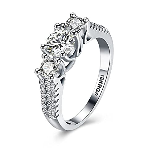 Eternity Love Women Wedding Engagement Rings 18K Gold Plated Cz Diamonds Bands Solitaire Princess Cut Promise Anniversary Bridal Jewelry Infinity Love for Her, JPR810-8-UK