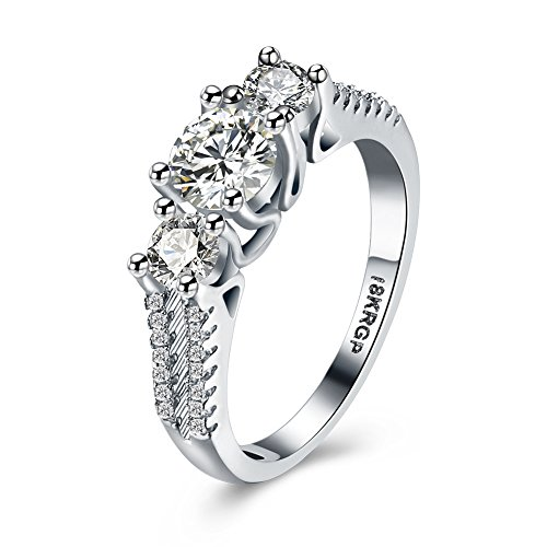 Frauen 18K Weiße Gold Gepanzerte Kubik- Zirkonoxid-Kristalle Zirkonia Diamant Verlobungsringe Beste Versprechungsringe Hochzeit-Jubiläumsfeiersringe für das Damenmädchen, JPR810-6-UK (Jade Verlobungsringe)
