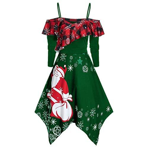 Abiti di Natale per Le Donne - 2020 Nuove Donne Oversize off Spalla Abito Signore Elegante Xmas Stampato Vintage Abito(Verde,M)