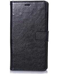 Nnopbeclik [Coque Huawei P8 Lite 3D ] Mode Fine Folio Wallet/Portefeuille en Bonne Qualité PU Cuir Housse pour Huawei P8 Lite Coque antichoc [Huawei ALE-L21] (5.0 Pouce) Simple Style + Stand Support + Card Slot + Magnétique Bookstyle Flip Case Intérieur en Silicone étui de Protection - [Noir]