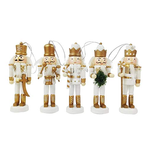 Ridecle 23 cm Holz Nussknacker Soldat auf Ständer Puppet Set Weihnachten Dekorative Ornamente Spielzeug Geschenk Tische Baum Anhänger Ferienhaus Dekoration 5 Stücke Box Spielzeug Set