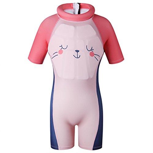 G WELL Kinder Float Suit Einteiler Bojen Badeanzug Auftrieb Schwimmanzug Bademode mit Schwimmhilfe für Jungen Mädchen 110-120cm Rosa XL