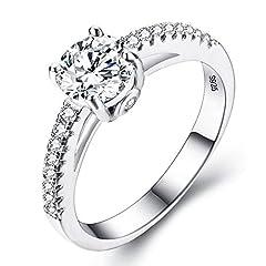 Idea Regalo - EVER FAITH® 925 argento sterling classico taglio rotondo .25ct Cubic Zirconia anello di fidanzamento Clear - Misura 12