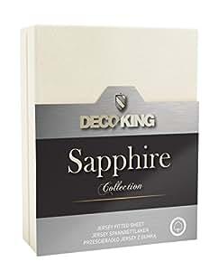 DecoKing 19658 Wasserbett Spannbettlaken 100 x 200 - 120 x 200 cm Jersey Baumwolle Spannbetttuch Sapphire Collection, ecru