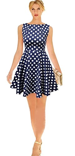 Aimerfeel-Vintage-Style-Navy-Blue-Polka-Dot-Summer-Skater-A-Line-Dress-Size-1618