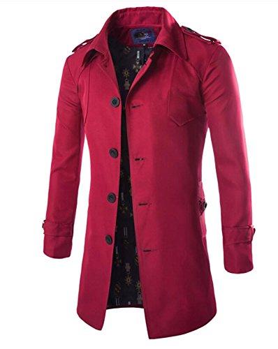 Herren Übergangsjacke Langarm Trenchcoat Mantel Kurzmantel Einreihig Jacke, Rot, EU XS/Asia M - 2