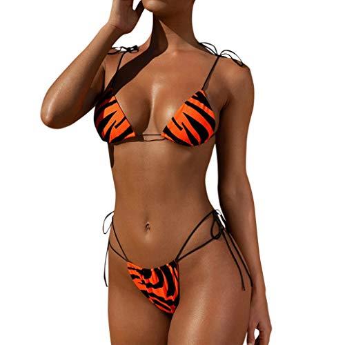 Riou Bikinis Mujer 2019 Push up Bikini de Tres Puntos con Estampado de Cebra y Tira Mujeres Conjunto...