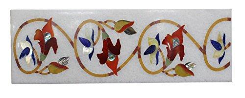 "4"" X 12"" White Marble Flooring Tiles Rare Inlaid Mosaic Pietradure Decor"