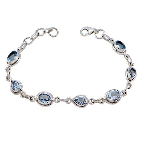 Plata de ley azul blue topacio facetado Buena piedras preciosas Armband–producen joyas...