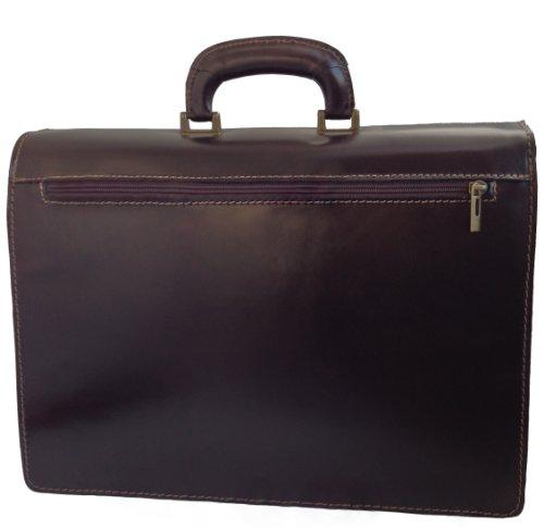 CTM-Beutel-Männer Aktenkoffer Aktentasche zur Arbeit, 41x31x18cm, 100% echtes Leder Made in Italy Dunkelbraun