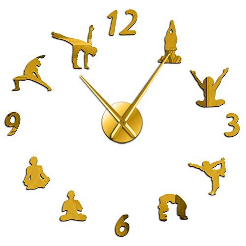 DFRTY Yoga DIY Silencioso Relojes de Pared Grandes Efecto de Espejo Reloj de Sala Reloj Meditación...