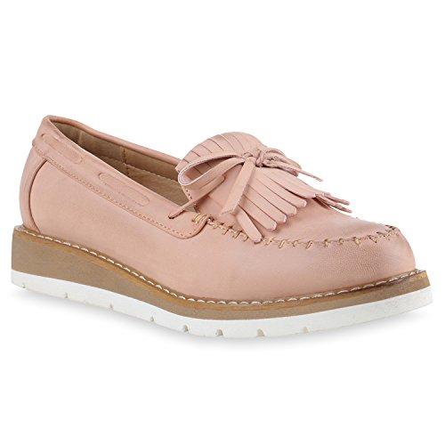 Damen Slipper Fransen Lack Schuhe Profilsohle Flats Rosa Fransen