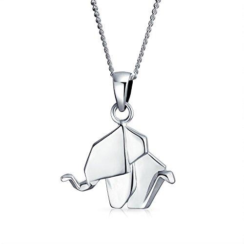 3D Pequeño Zoológico Elefante Origami Collar Del Colgante Del Animales Para Mujer Adolescente Plata Esterlina 925 Pulido