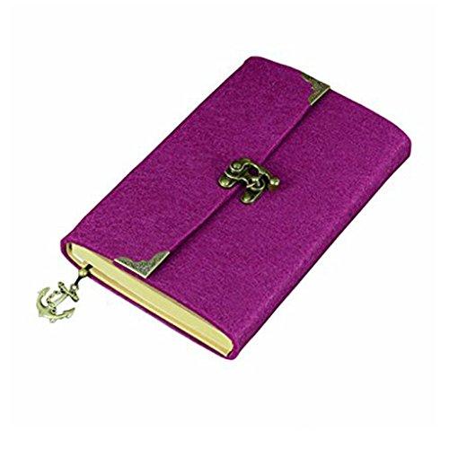 SAYEEC, diario retrò, sottile, con copertina in feltro e chiusura di bronzo, diario di viaggio, agenda a righe 7.8*5.5inch Purple