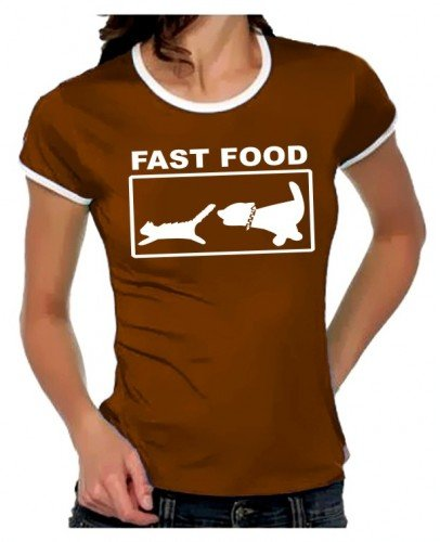 FAST FOOD Girly Ringer braun/weiss, Gr.L (Ringer Hund Damen)