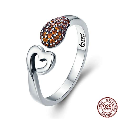 VJUKUBCUTE Love Sparkle Opening Ring Vintage Inlay Sterling Silver Ring Valentine ' S Day Gift S925 Sterling Silver Gift Or Wedding Marriage Or Engagement