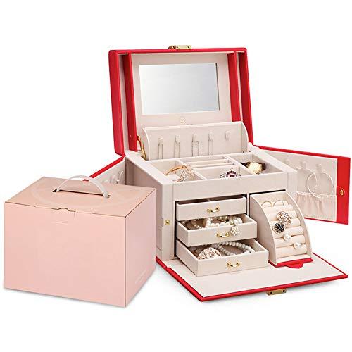 XYEQZ Schmuckschatulle - Geschenkbox Holz Mit Kosmetikspiegel Schmuck Aufbewahrungsbox - Geburtstagsgeschenk FüR Freundin,Red
