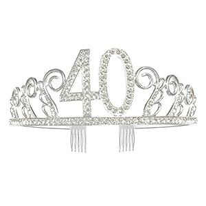 GreeStore Tiara / Diadem zum 40. Geburtstag, mit Strass besetzte Krone mit Haarkamm, silberfarben, tolles Geschenk