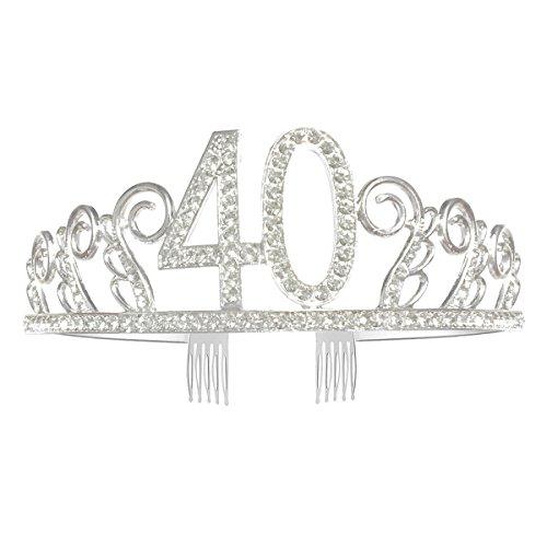 Greestore 40th cumpleaños Tiara Corona Cristal Rhinestone