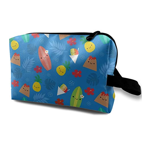 Makeup Bag Portable Travel Cosmetic Bag Happy Island Friends Blue Mini Makeup Pouch for Women Girls