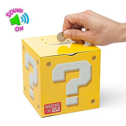 XIAMUSUMMER Sparschwein, Super Mario Fragezeichen-Box Spardose, Geld sparen Box Münze Spartopf Container mit Klang, Lernspielzeug für Kinder Erwachsene