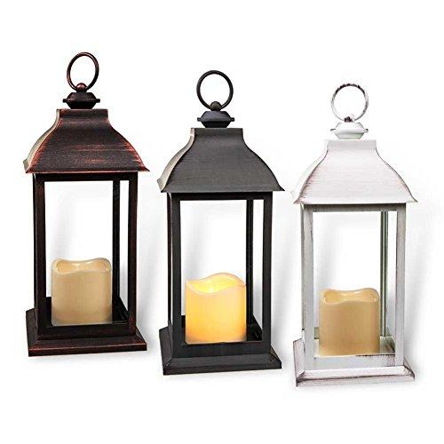"""HC-Handel 923305 Laterne """"Antique Finish"""" mit LED-Kerze aus Kunststoff 34 cm kupfer, grau oder weiß"""