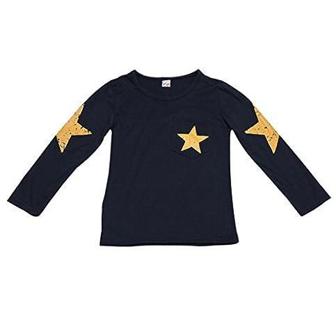 Petit Garçon T-Shirt , OverDose Manches Longues Imprimé étoile Enfant En Bas âge Enfants Tête Des Vêtements (5 Ans, Marine)