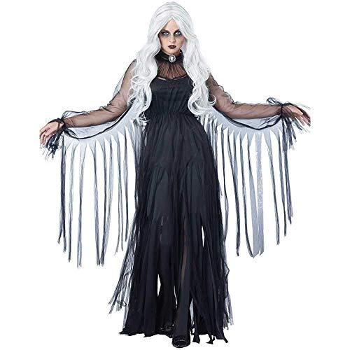 GWNJSSX Schwarze Witwe-Vampirs-Schläger-Kostüm Der,Halloween-Cosplay-Abendkleid Das Geisterstadt-Erwachsenen Frauen Kleid U Kragen,Black-S (Kostüm Der Schwarzen Witwe)