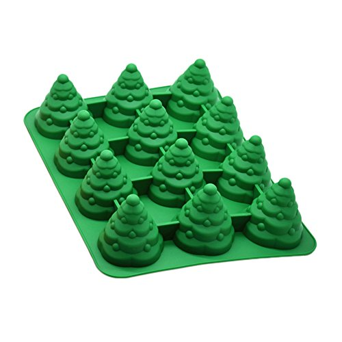 12-cavity Weihnachtsbaum Kuchen Form BPA-frei Silikon nicht Stick Cookie Schokolade Jelly Candy Backform grün