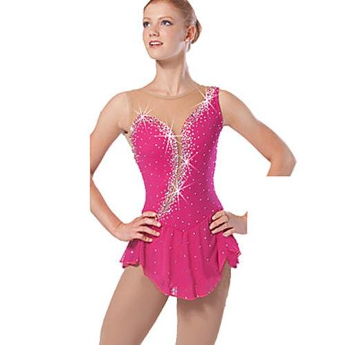 W&G(New Vestito da Pattinaggio Artistico per Donna da Ragazza Completo da Pattinaggio sul Ghiaccio Design anatomico Senza Maniche Abbigliamento, 10