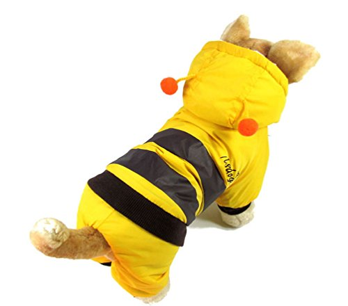 smalllee_lucky_store xy000132-xl Kleiner Hund Bee Hoodie Kostüm Mantel Outfit, gelb, X-Large