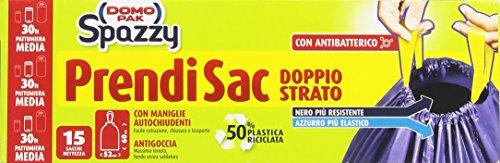 Spazzy Sacchi in Plastica con Maniglie Autochiudenti e Antibatterico 30 Litri Pattumiera Media - 15 Sacchi