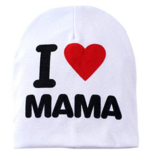 """Sanwood Warme Strickmütze, Baby, mit Beschriftung """"I Love Mama"""" oder """"I Love Papa"""" Gr. Einheitsgröße, White Mama"""
