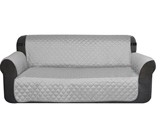 Sobotoo Funda de sofá Impermeable, Reversible, 2 plazas, Protector de sofá Antideslizante, para Perro, Gato, Mascota, Impermeable, Protector de Muebles, café, Gris, 116 * 188CM