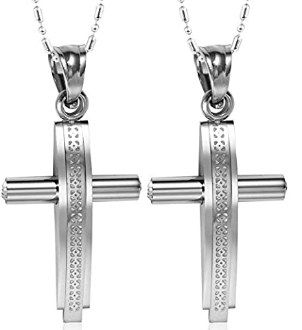 Daesar His & His Necklace Set Couples Stainless Steel Link Convex Crucifix Cross Pendant Necklace