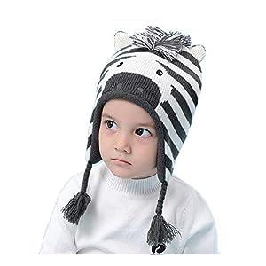 Mütze Kindermütze Strickmütze Coole Mütze für Baby Mädchen Jungen Kinder Schnee Hut Wintermütze Kids mit Wärmendem Ohrenschutz-Zebra