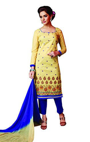 Oomph! Women\u2019s Unstitched Salwar Suit/Dress Material/Embroidered Cotton Dress Material, Yellow