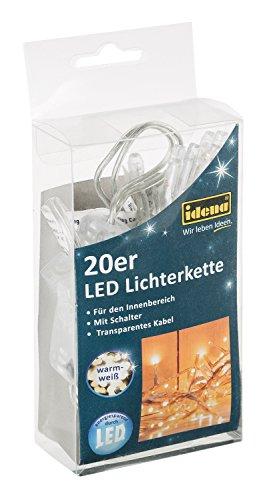 Idena LED Lichterkette 20-er, mit Schalter, für Innen, Länge 3,40 m, warm weiß, 31117 (Led-schalter)