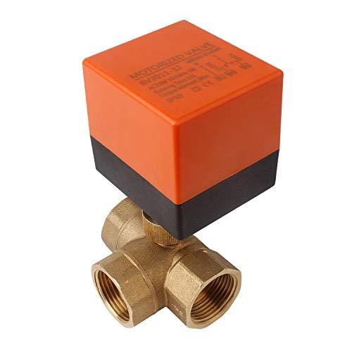 Kugelventil Elektrisch Zonenventil DN25 3 Wege 1-Zoll-Kugelhahn Solar Ventil Zwei-Wege-Ventil AC 230V mit Steuermotor (Differenzdruck-schalter)