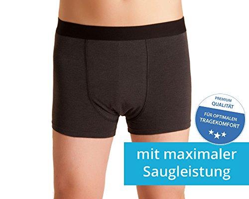 Waschbare Herren Inkontinenz-Shorts, Unterhose mit Saugeinlage, dunkelgrau/melange, ActivePro Men Super Plus (XL)
