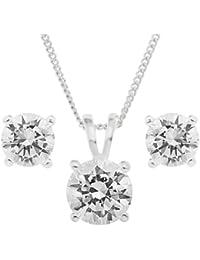Ornami B05TP10790 - Juego de joyas de plata de ley con circonita