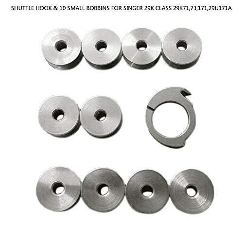 BAAQII Shuttle Hook & 10 Small Bobbins für Sänger 29K Class 29K71,73,171,29U171A - Shuttle-haken
