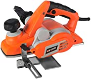 Vollplus 750W Corded Electric Planer 16000RPM 82mm Width and 3mm Depth for Hardwood Planing, Power Planer with