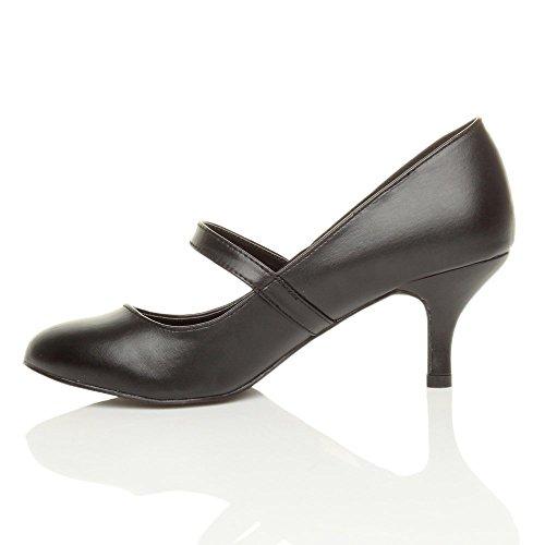 7bfe31b3b45748 Damen Hoher Absatz Mary Jane Formal Abend Party Ball Pumps Schuhe Größe  Schwarz Matt