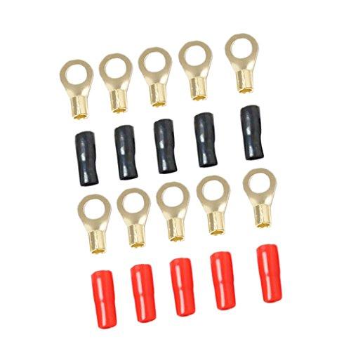 Sharplace 8 Gauge Power Draht/Erdungskabel Gabelklemmen/Ersatz Zubehör Fahrzeuge Kabelklemmensatz - Schwarz und Rot (Erdungskabel 8 Gauge)