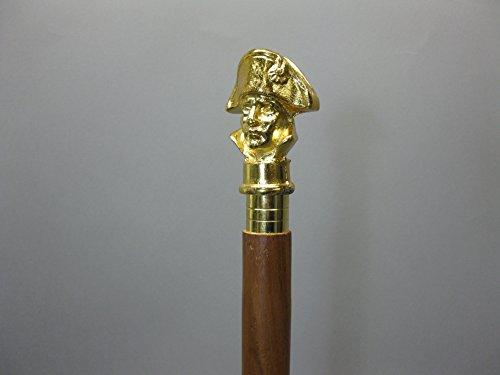 Militär Holz Gehstock Spazierstock Wanderstock Napoleon 94cm mit Messing Griff Walking Stick M 92 (Stick Holz-spazierstock Walking)